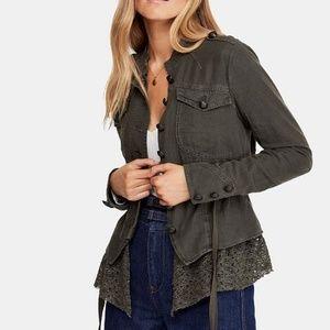 NWT Free People Emilia Lace Trim Jacket (L)